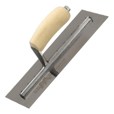 "13 x 5"" Wooden Shaped Handle Plasterers Finishing Trowel"