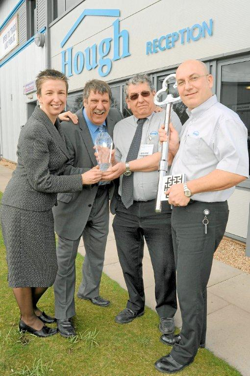 From left, Maxine Chapman of MAS, Carl Chinn and directors at Arthur Hough and Sons Brian Appleby and Richard Evans