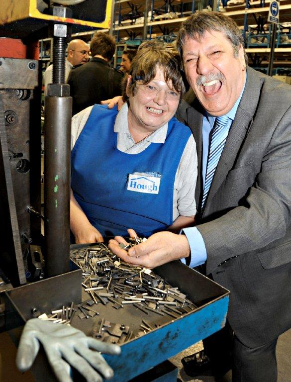 Carl Chinn meets worker Judith Saunders who works at the key making factory in Featherstone
